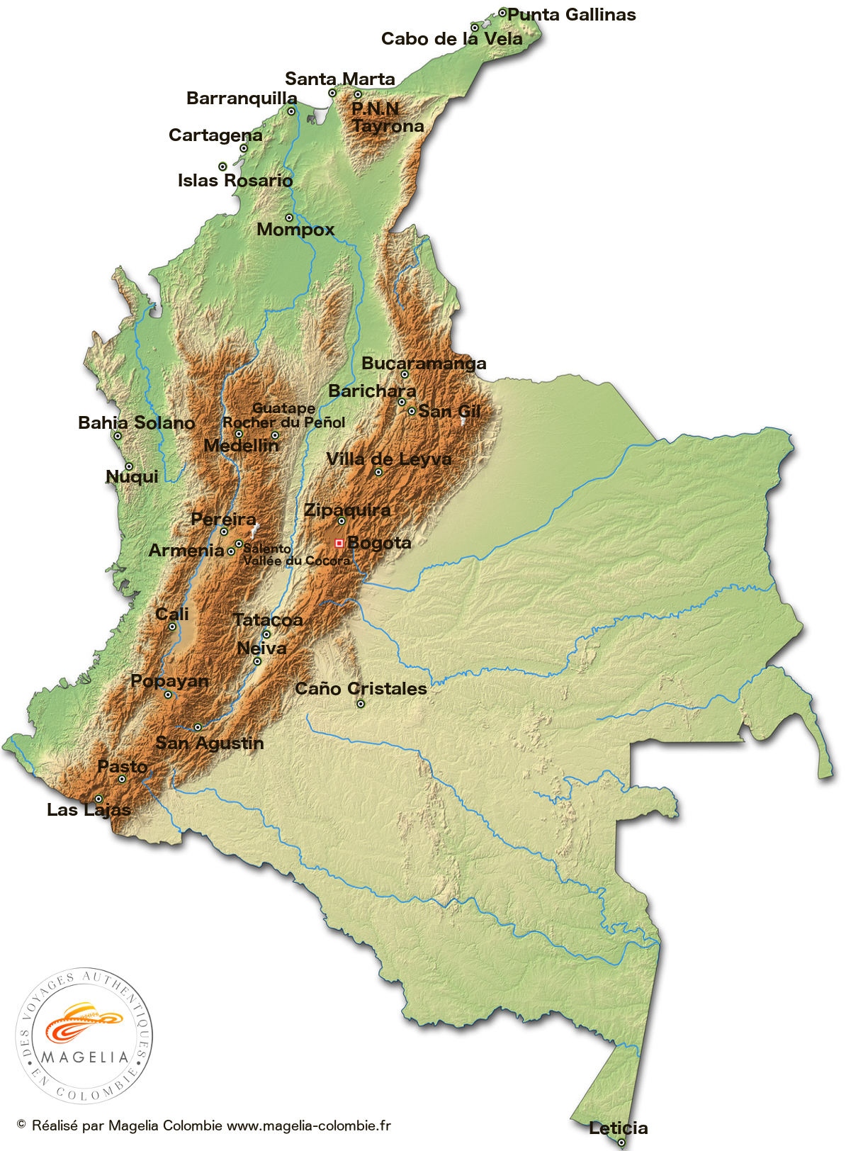 Map of administrative divisions of Colombia